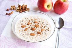 Kasha with milk and nuts. Hot kasha with milk and nuts Royalty Free Stock Photos