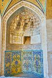 Mihrab in Agha Bozorg mosque, Kashan, Iran stock images