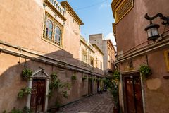 Kashgar, Xinjinag, China: one of the streets of Kashgar Ancient Town. Kashgar is a popular tourist place along the Silk Road. And one of the westernmost cities royalty free stock image