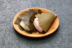 Kashiwa mochi, japanese traditional sweet. Kashiwa mochi is white mochi surrounding a sweet anko filling with a kashiwa oak leaf wrapped around it stock image