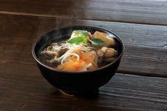 Kashiwa soba. Buckwheat noodle with chicken called Kashiwa soba stock images