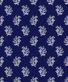 Kashmir blockprint pattern. Indigo dye woodblock printed seamless ethnic floral all over pattern. Traditional oriental ornament of India, flowers of Kashmir Royalty Free Stock Photo