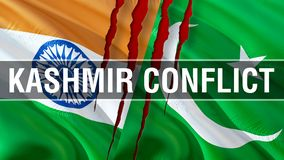 Kashmir Conflict on Pakistan and India flags. Waving flag design,3D rendering. Pakistan India flag picture, wallpaper image. royalty free stock photo
