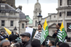 Kashmir demonstration Trafalgar Square London Royaltyfri Foto