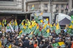 Kashmir demonstration Trafalgar Square London Arkivfoto