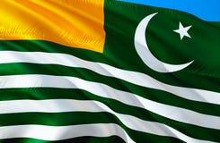 Kashmir flag. 3D Waving flag design. The national symbol of Azad Kashmir, 3D rendering. Azad Kashmir 3D Waving sign design. Waving. Sign background wallpaper royalty free stock photos