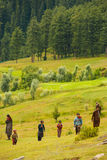 Kashmir Gypsy Goatherders Walking Hill Stock Photos