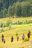 Kashmir Gypsy Goatherders Walking Hill Royalty Free Stock Photography