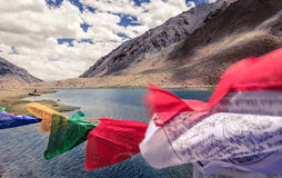 Kashmir Himalayas. Buddhist flags waving in the wind over a small lake in Ladakh, Kashmir, India Royalty Free Stock Image