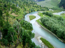Kashmir India. River of mountain Kashmir India stock image