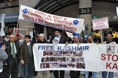Kashmir Protest outside Indian Consulate Stock Photos