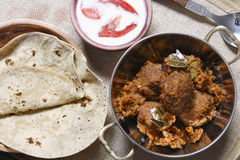 Kashmiri dum aloo with Roti from India Stock Photo