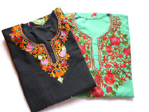 Kashmiri Embroidery Kurtis Stock Photo