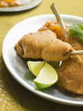 Kashmiri Lamb Cutlets with Lime Wedges Royalty Free Stock Photo