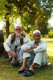 Kashmiri Men Sitting Outdoor Park Shisha Smoking Royalty Free Stock Photo