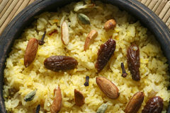 Kashmiri modur pulao is sweetened rice from India Royalty Free Stock Images