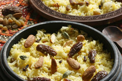 Kashmiri modur pulao is sweetened rice from India Royalty Free Stock Image