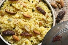 Kashmiri modur pulao is sweetened rice from India Stock Image