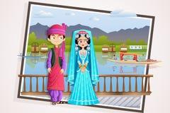 Kashmiri Wedding Couple stock illustratie