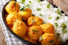 Kashmiridumaloo: kryddig potatis med riscloseupen på pannan Ho royaltyfri bild