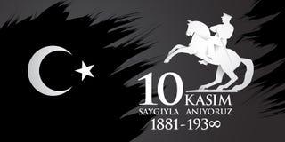 Kasim för Saygilarla aniyoruz 10 översättning från turk November 10, respekt och minns stock illustrationer