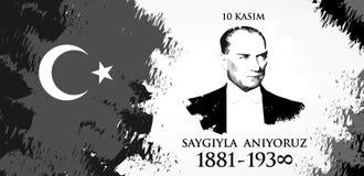 Kasim för Saygilarla aniyoruz 10 översättning från turk November 10, respekt och minns royaltyfri illustrationer