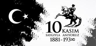 Kasim för Saygilarla aniyoruz 10 översättning från turk November 10, respekt och minns vektor illustrationer