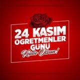 24 Kasim, November 24th turkisk läraredag royaltyfri illustrationer