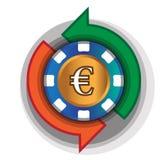 Kasino-Austausch-Euro Stockfotos