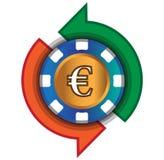 Kasino-Austausch-Euro Lizenzfreie Stockfotos