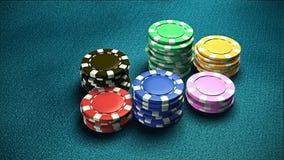 Kasino 6 av blå tabell 1 för chiper Arkivfoto