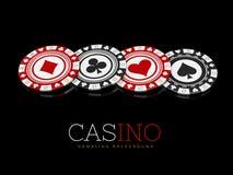 Kasino bricht auf schwarzem Hintergrund, Illustration 3d ab Lizenzfreies Stockbild