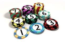 Kasino-Chip gestapelt in der Quantitäts-Ordnung Stockbilder