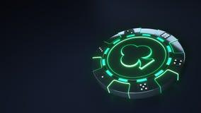 Kasino-Chip schlägt Konzept mit glühenden grünen Neonlichtern mit einer Keule und würfelt die Punkte, die auf dem schwarzen Hinte lizenzfreie abbildung