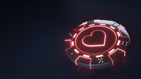 Kasino-Chipherzen Konzept mit glühenden roten Neonlichtern und würfeln die Punkte, die auf dem schwarzen Hintergrund - Illustrati vektor abbildung