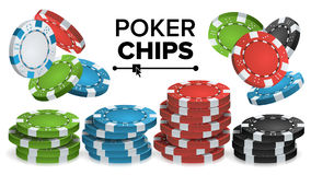 Kasino Chips Stacks Vector realistisk 3D Kulör pokerlek Chips Sign Illustration Royaltyfri Bild
