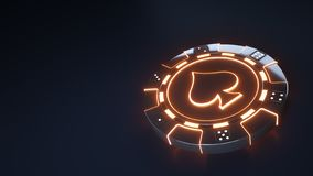 Kasino-Chipspaten Konzept mit glühenden orange Neonlichtern und würfeln die Punkte, die auf dem schwarzen Hintergrund - Illustrat lizenzfreie abbildung