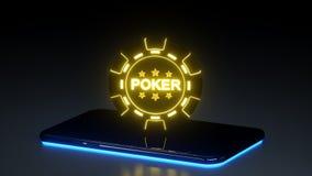 Kasino, das Chip Concept und intelligentes Telefon mit den glühenden Neonlichtern lokalisiert auf dem schwarzen Hintergrund - Ill vektor abbildung