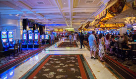 Kasino i det Bellagio hotellet i Las Vegas Royaltyfria Foton