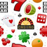 Kasino-Ikonen-nahtloses Muster Stockbild