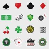 Kasino-Ikonen-Satz Stockfotos