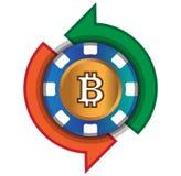 Kasino-Münze, zum von Bitcoin auszutauschen Stockfotografie
