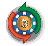 Kasino-Münze, zum von Bitcoin auszutauschen Stockbilder