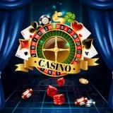 Kasino-Nachtspiel-Symbol-Zusammensetzungs-Plakat stock abbildung