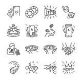 Kasino och vågspellinje symbolsuppsättning Arkivbild