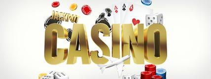 Kasino-Poker 3D überträgt Poker-Kartenspiel Stockbilder