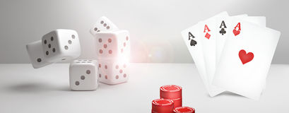 Kasino-Poker 3D überträgt Poker-Kartenspiel Lizenzfreie Stockfotografie
