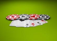 Kasino-Pokerchips mit vier Assen Illustration der Kasino-Spiel-3D Lizenzfreie Stockbilder
