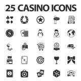 Kasino, 25 schwarze einfache Ikonen spielend eingestellt für Netz Lizenzfreies Stockbild