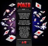 Kasino-spielende Pokerhintergrundplakat-Designschablone Pokereinladung mit Spielkarten und Chips Würfelt und bricht auf Laptop ab lizenzfreie abbildung